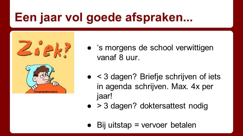 Een jaar vol goede afspraken... ●'s morgens de school verwittigen vanaf 8 uur. ●< 3 dagen? Briefje schrijven of iets in agenda schrijven. Max. 4x per