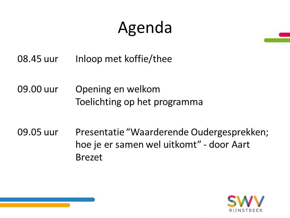 Agenda 08.45 uurInloop met koffie/thee 09.00 uurOpening en welkom Toelichting op het programma 09.05 uurPresentatie Waarderende Oudergesprekken; hoe je er samen wel uitkomt - door Aart Brezet