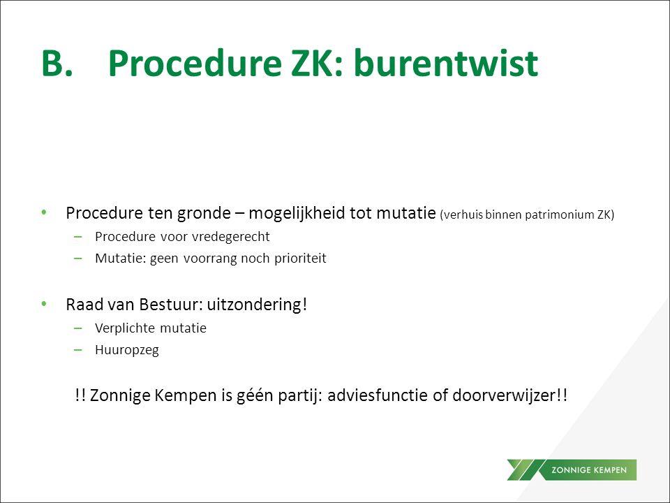 B.Procedure ZK: burentwist Procedure ten gronde – mogelijkheid tot mutatie (verhuis binnen patrimonium ZK) – Procedure voor vredegerecht – Mutatie: ge