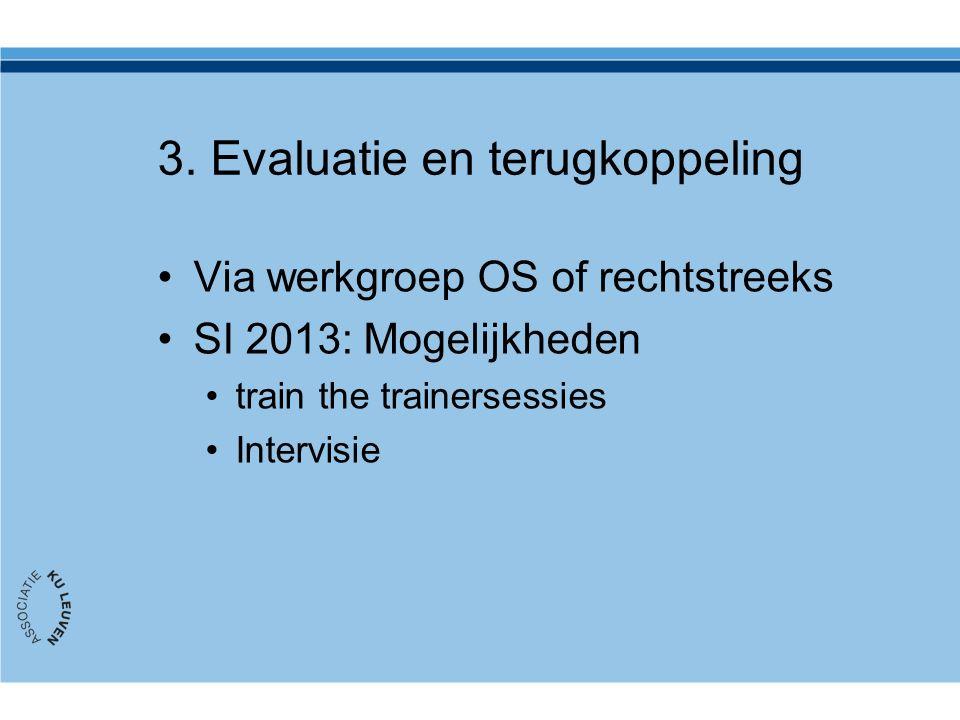 3. Evaluatie en terugkoppeling Via werkgroep OS of rechtstreeks SI 2013: Mogelijkheden train the trainersessies Intervisie