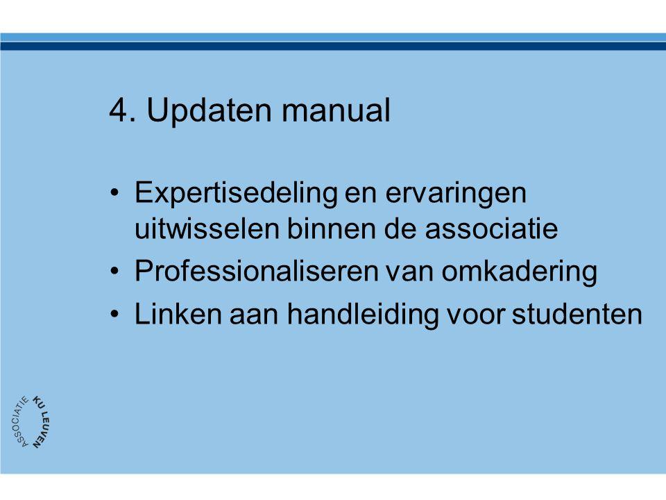 4. Updaten manual Expertisedeling en ervaringen uitwisselen binnen de associatie Professionaliseren van omkadering Linken aan handleiding voor student