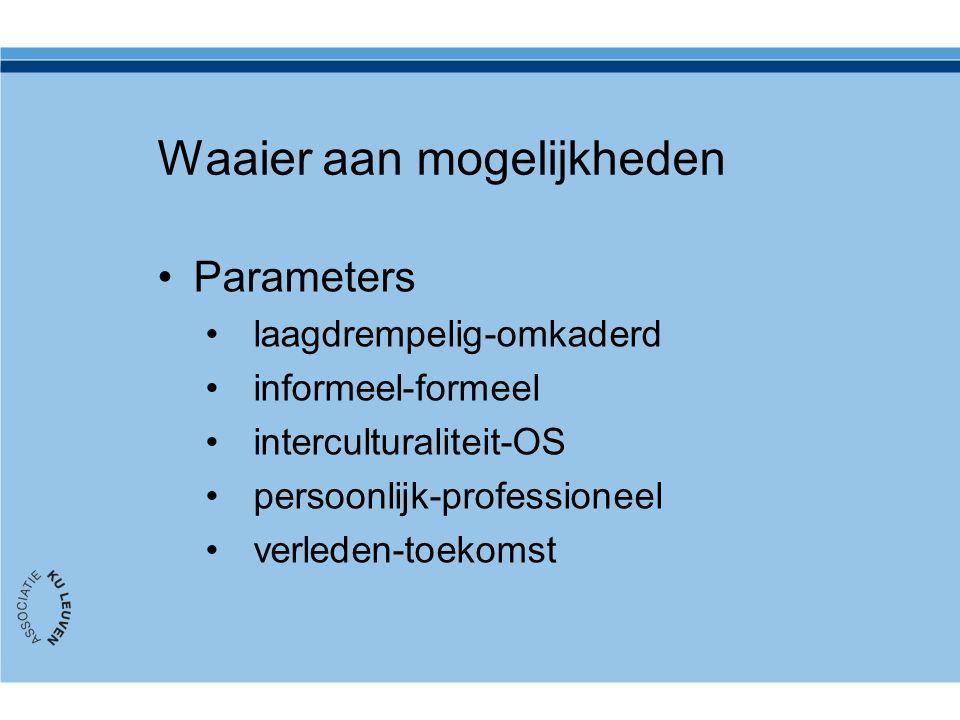 Waaier aan mogelijkheden Parameters laagdrempelig-omkaderd informeel-formeel interculturaliteit-OS persoonlijk-professioneel verleden-toekomst
