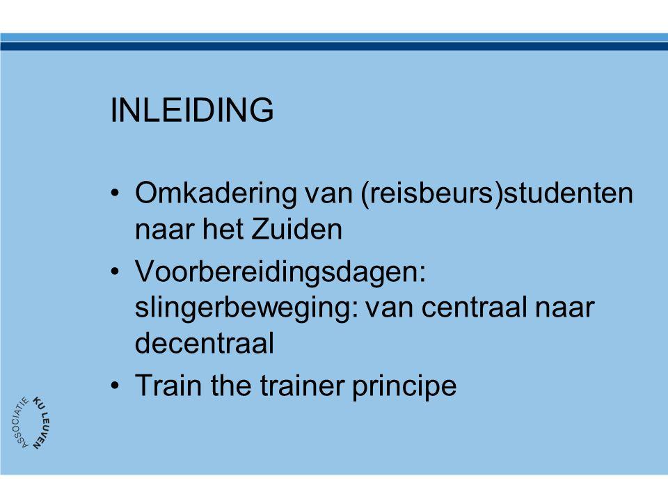 INLEIDING Omkadering van (reisbeurs)studenten naar het Zuiden Voorbereidingsdagen: slingerbeweging: van centraal naar decentraal Train the trainer principe