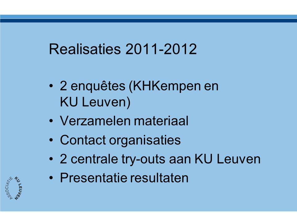 Realisaties 2011-2012 2 enquêtes (KHKempen en KU Leuven) Verzamelen materiaal Contact organisaties 2 centrale try-outs aan KU Leuven Presentatie resultaten