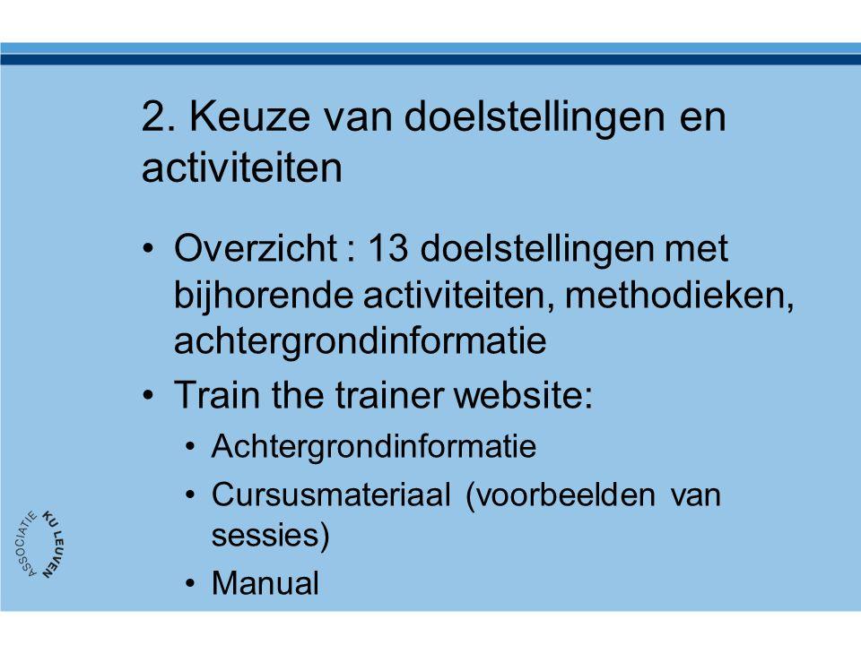 2. Keuze van doelstellingen en activiteiten Overzicht : 13 doelstellingen met bijhorende activiteiten, methodieken, achtergrondinformatie Train the tr