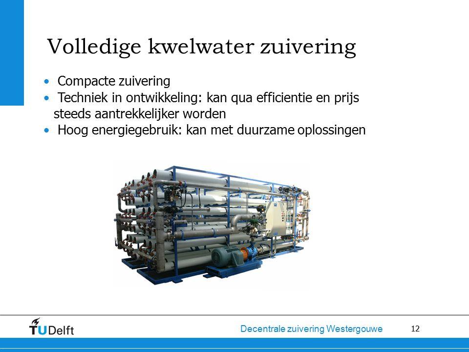 12 Decentrale zuivering Westergouwe Compacte zuivering Techniek in ontwikkeling: kan qua efficientie en prijs steeds aantrekkelijker worden Hoog energiegebruik: kan met duurzame oplossingen Volledige kwelwater zuivering