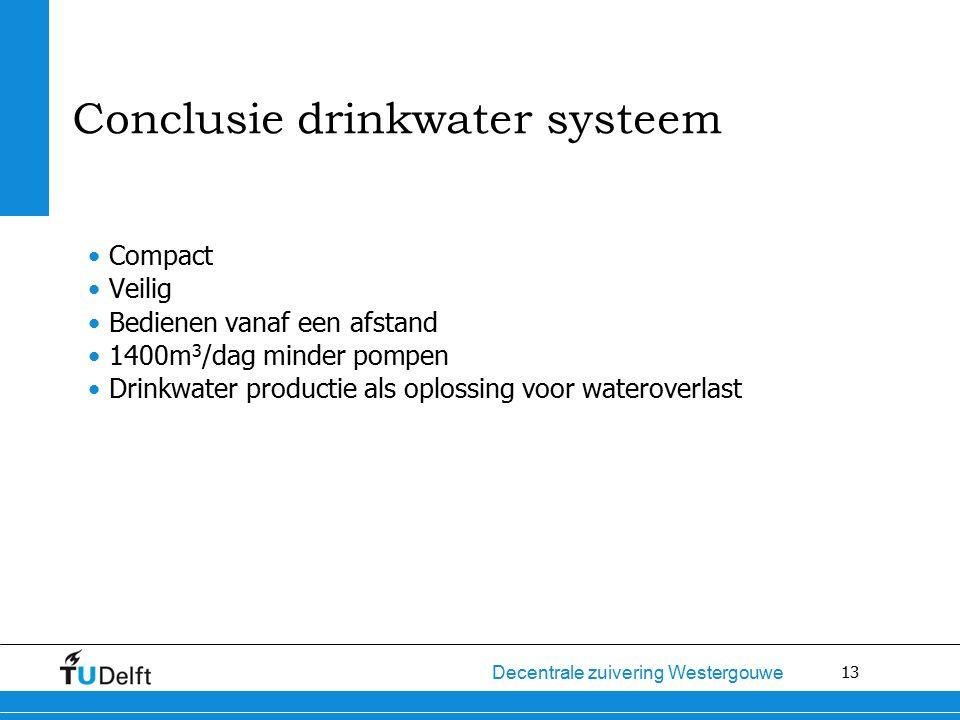 13 Decentrale zuivering Westergouwe Conclusie drinkwater systeem Compact Veilig Bedienen vanaf een afstand 1400m 3 /dag minder pompen Drinkwater productie als oplossing voor wateroverlast