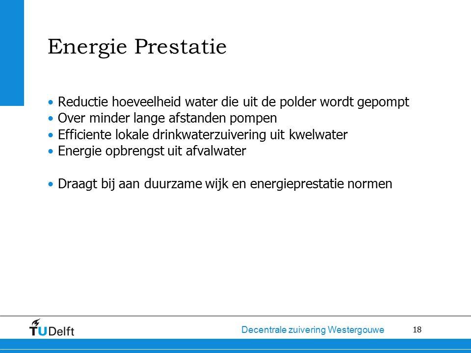 18 Decentrale zuivering Westergouwe Energie Prestatie Reductie hoeveelheid water die uit de polder wordt gepompt Over minder lange afstanden pompen Efficiente lokale drinkwaterzuivering uit kwelwater Energie opbrengst uit afvalwater Draagt bij aan duurzame wijk en energieprestatie normen