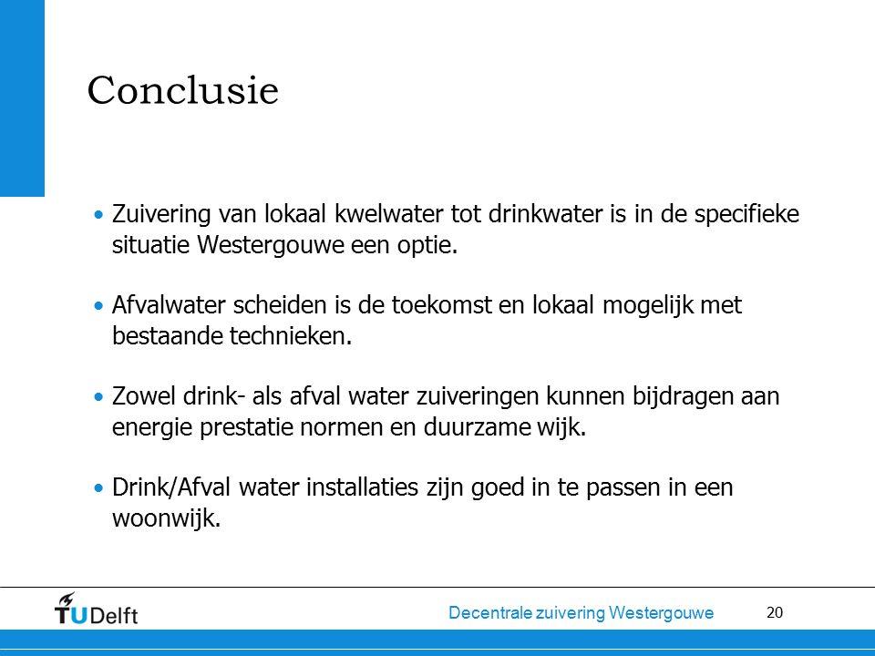 20 Decentrale zuivering Westergouwe Conclusie Zuivering van lokaal kwelwater tot drinkwater is in de specifieke situatie Westergouwe een optie. Afvalw