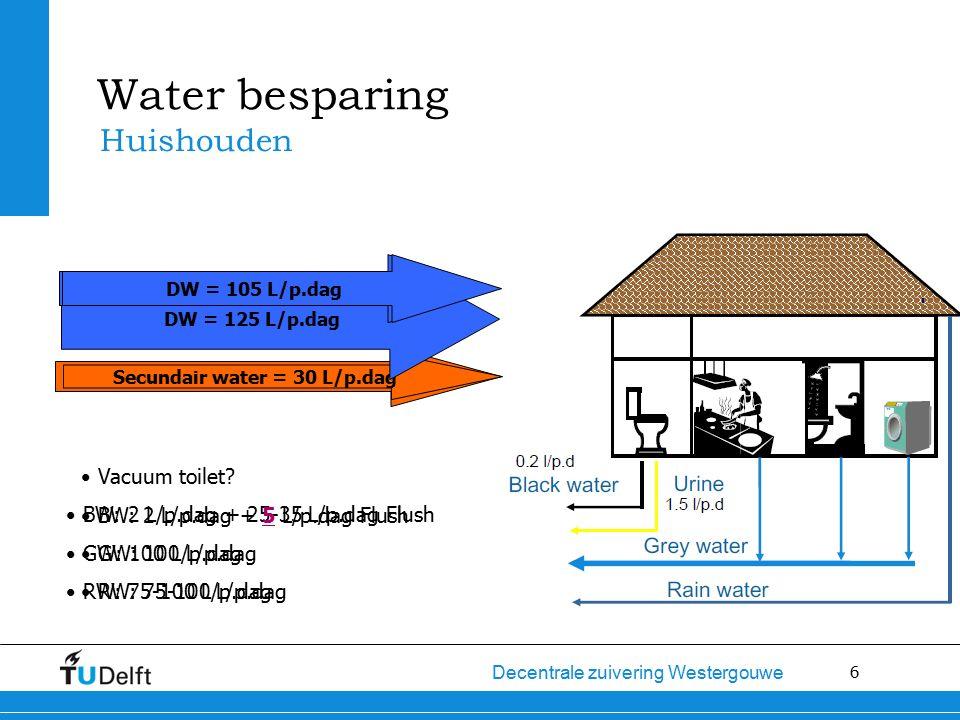 6 Decentrale zuivering Westergouwe Secundair water= 50 L/p.dag Secundair water = 30 L/p.dag Water besparing Huishouden DW = 125 L/p.dag BW: 2 L/p.dag