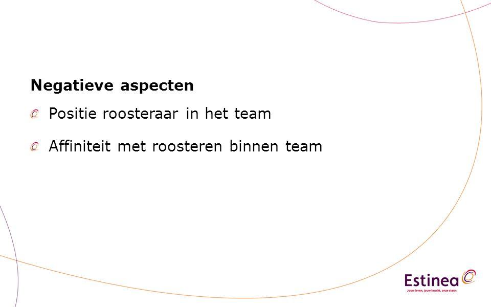 Negatieve aspecten Positie roosteraar in het team Affiniteit met roosteren binnen team
