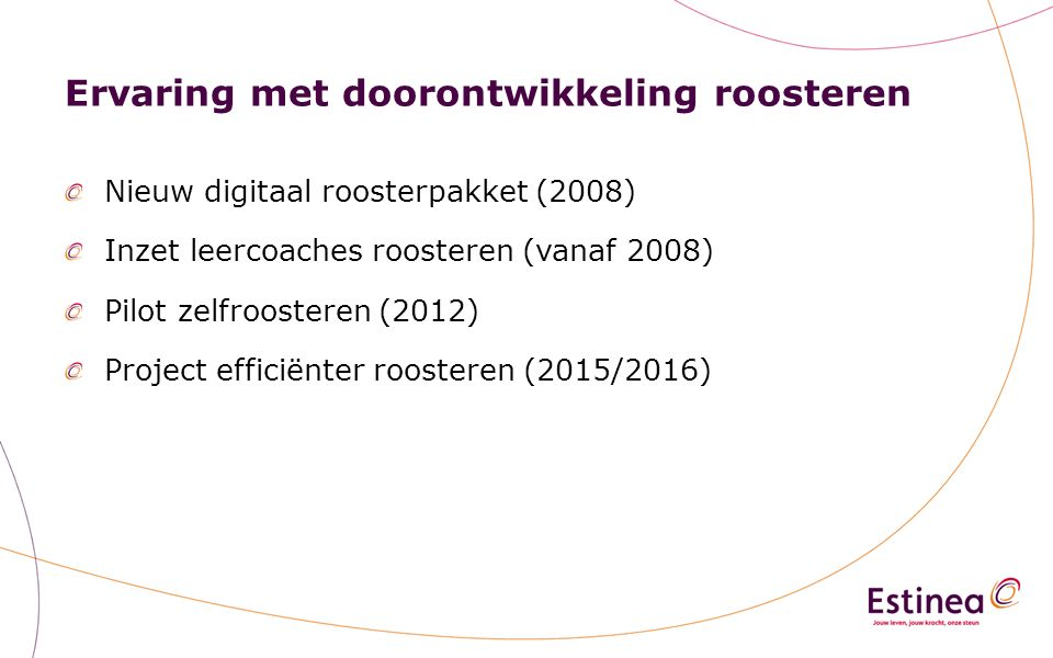 Ervaring met doorontwikkeling roosteren Nieuw digitaal roosterpakket (2008) Inzet leercoaches roosteren (vanaf 2008) Pilot zelfroosteren (2012) Project efficiënter roosteren (2015/2016)
