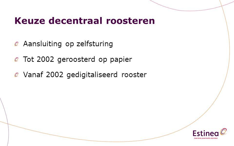 Keuze decentraal roosteren Aansluiting op zelfsturing Tot 2002 geroosterd op papier Vanaf 2002 gedigitaliseerd rooster