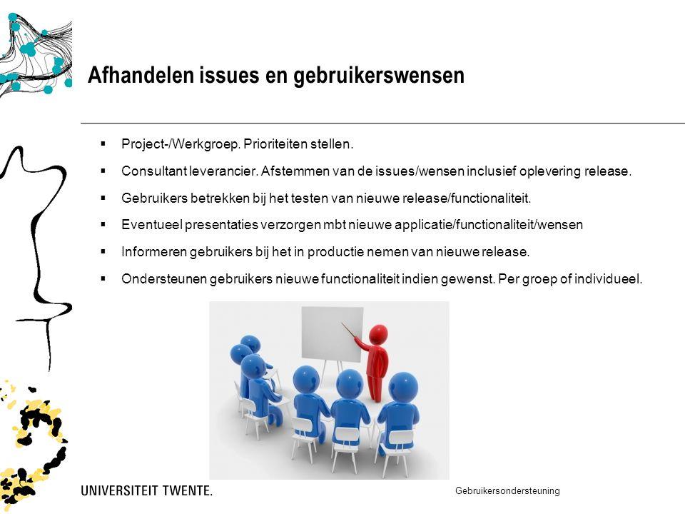 Afhandelen issues en gebruikerswensen  Project-/Werkgroep.