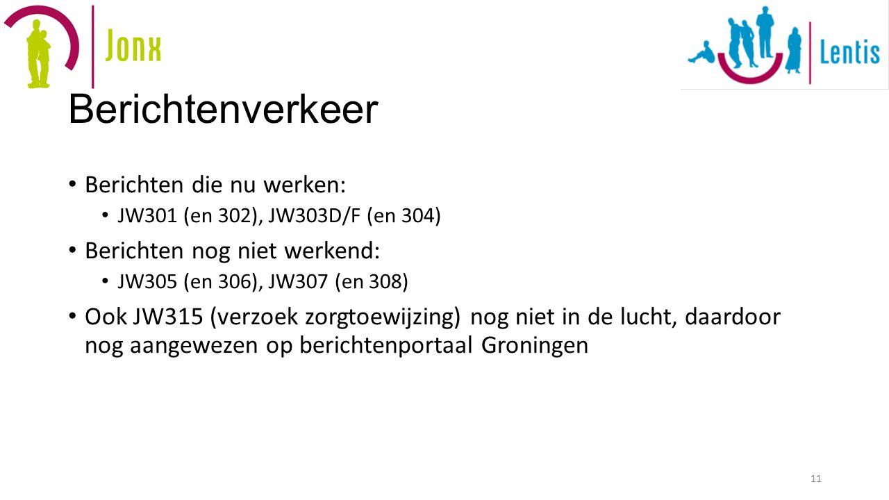 Berichtenverkeer Berichten die nu werken: JW301 (en 302), JW303D/F (en 304) Berichten nog niet werkend: JW305 (en 306), JW307 (en 308) Ook JW315 (verzoek zorgtoewijzing) nog niet in de lucht, daardoor nog aangewezen op berichtenportaal Groningen 11