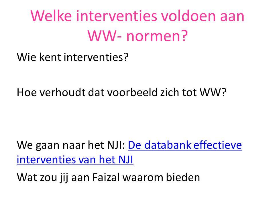 Welke interventies voldoen aan WW- normen.Wie kent interventies.