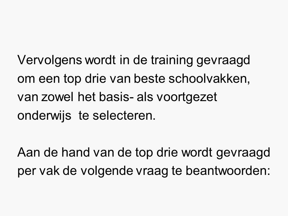 Vervolgens wordt in de training gevraagd om een top drie van beste schoolvakken, van zowel het basis- als voortgezet onderwijs te selecteren.