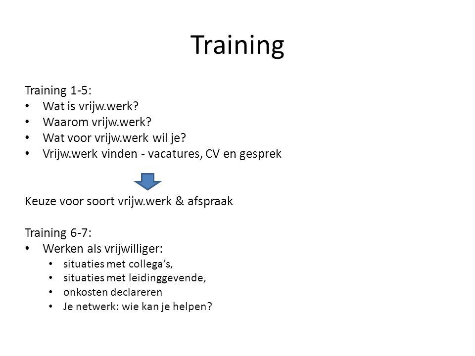 Training Training 1-5: Wat is vrijw.werk? Waarom vrijw.werk? Wat voor vrijw.werk wil je? Vrijw.werk vinden - vacatures, CV en gesprek Keuze voor soort