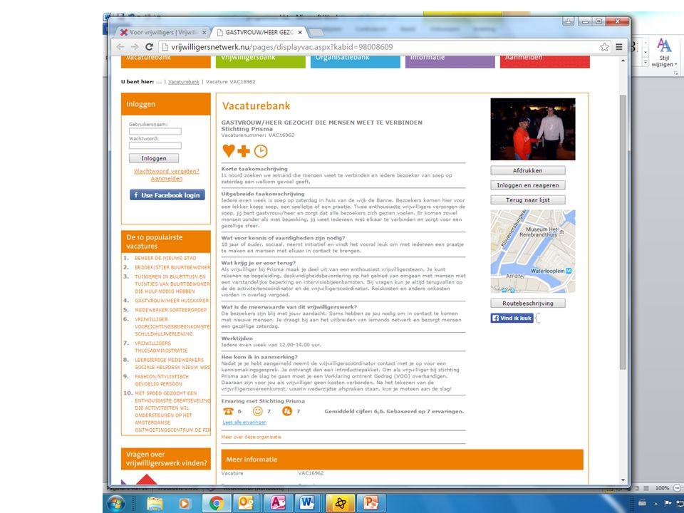 Vrijwilligerswerk - aanbod Wat is ideale vrijwilliger.