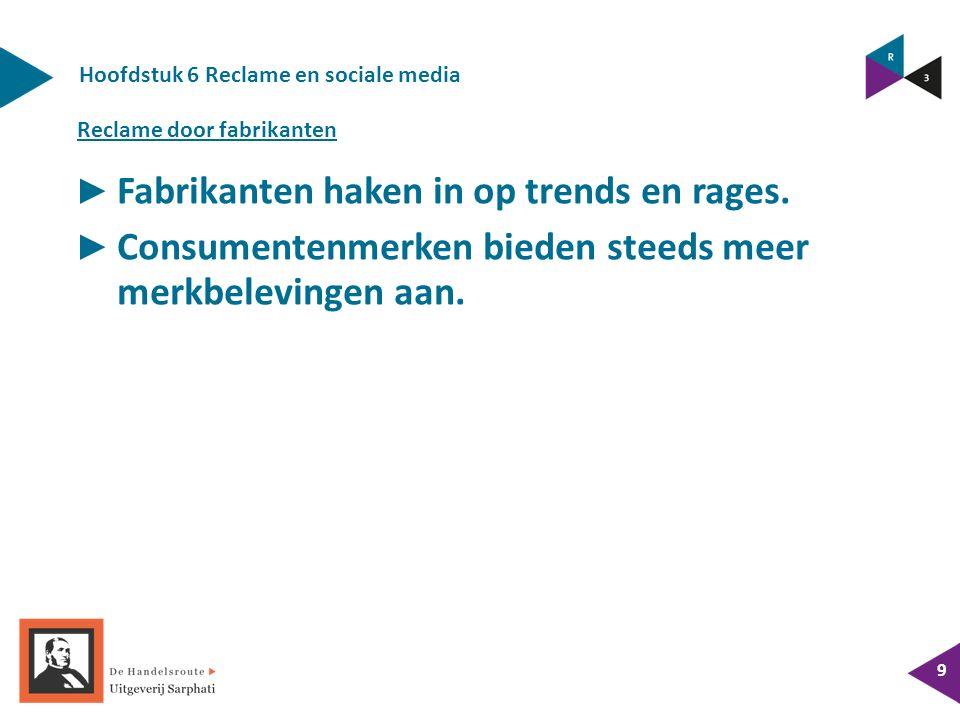 Hoofdstuk 6 Reclame en sociale media 9 ► Fabrikanten haken in op trends en rages.
