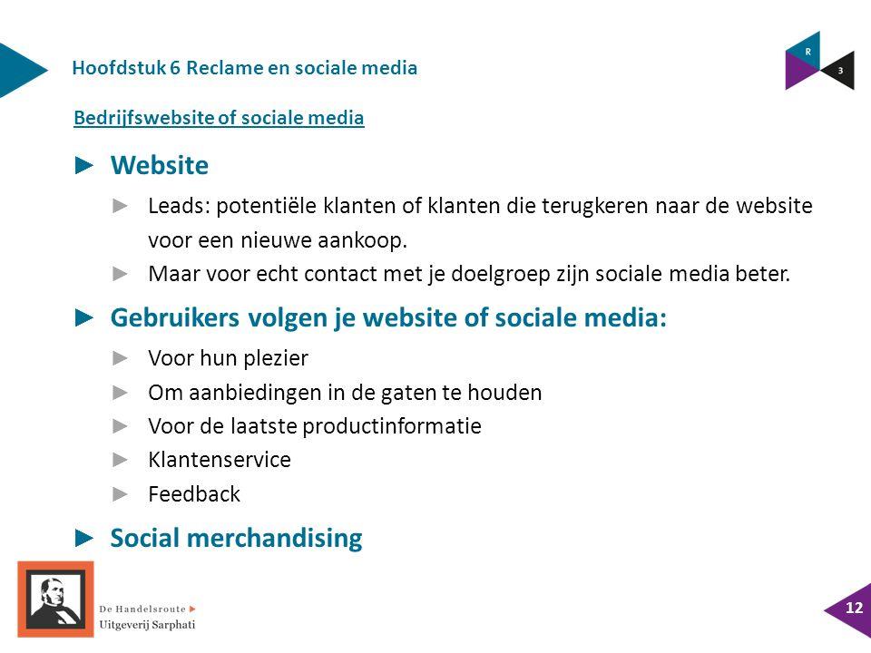 Hoofdstuk 6 Reclame en sociale media 12 ► Website ► Leads: potentiële klanten of klanten die terugkeren naar de website voor een nieuwe aankoop.