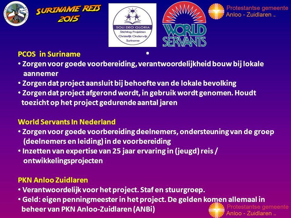 PCOS in Suriname Zorgen voor goede voorbereiding, verantwoordelijkheid bouw bij lokale aannemer Zorgen dat project aansluit bij behoefte van de lokale bevolking Zorgen dat project afgerond wordt, in gebruik wordt genomen.