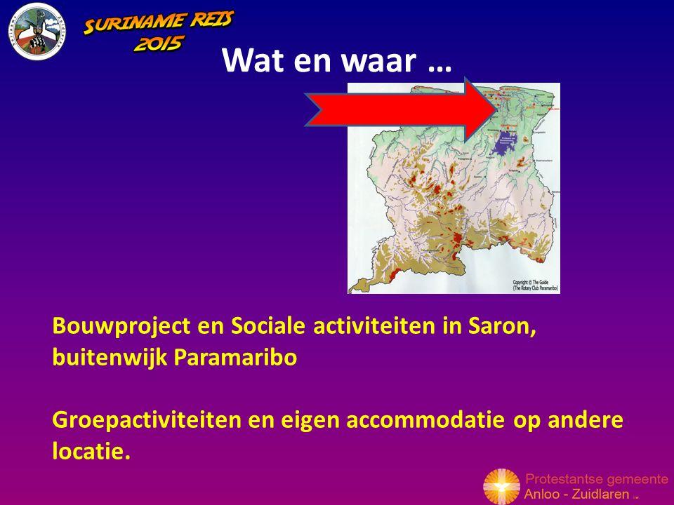 Wat en waar … Bouwproject en Sociale activiteiten in Saron, buitenwijk Paramaribo Groepactiviteiten en eigen accommodatie op andere locatie.