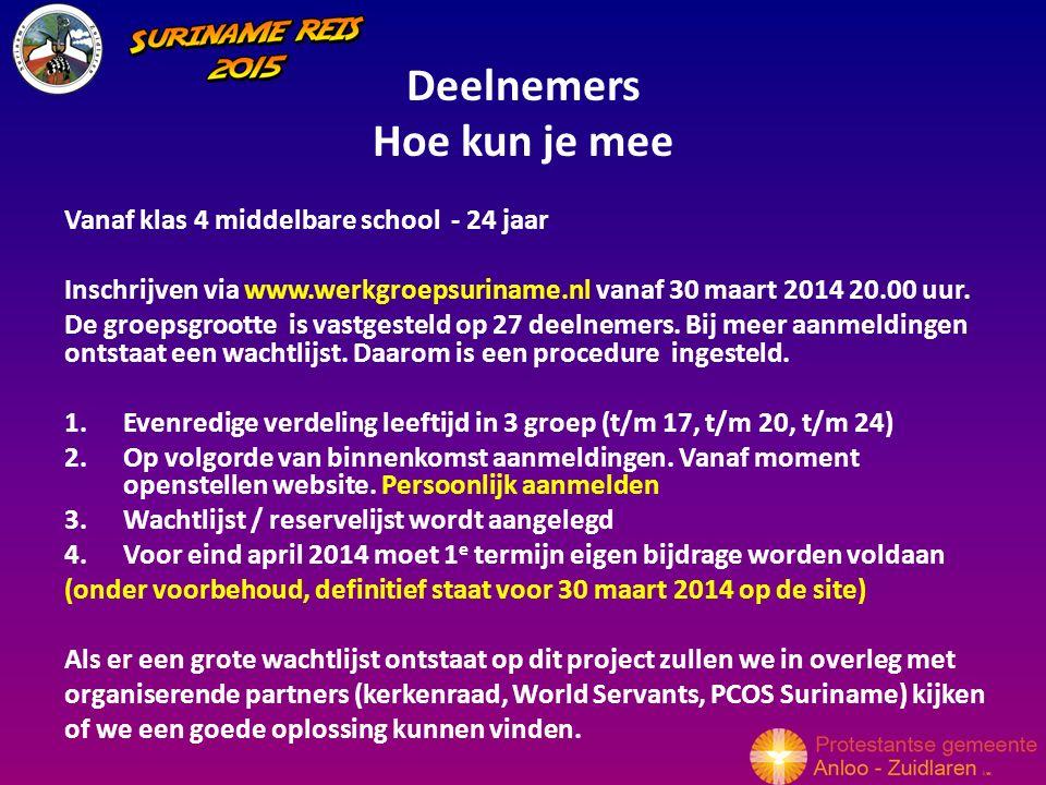 Deelnemers Hoe kun je mee Vanaf klas 4 middelbare school - 24 jaar Inschrijven via www.werkgroepsuriname.nl vanaf 30 maart 2014 20.00 uur.