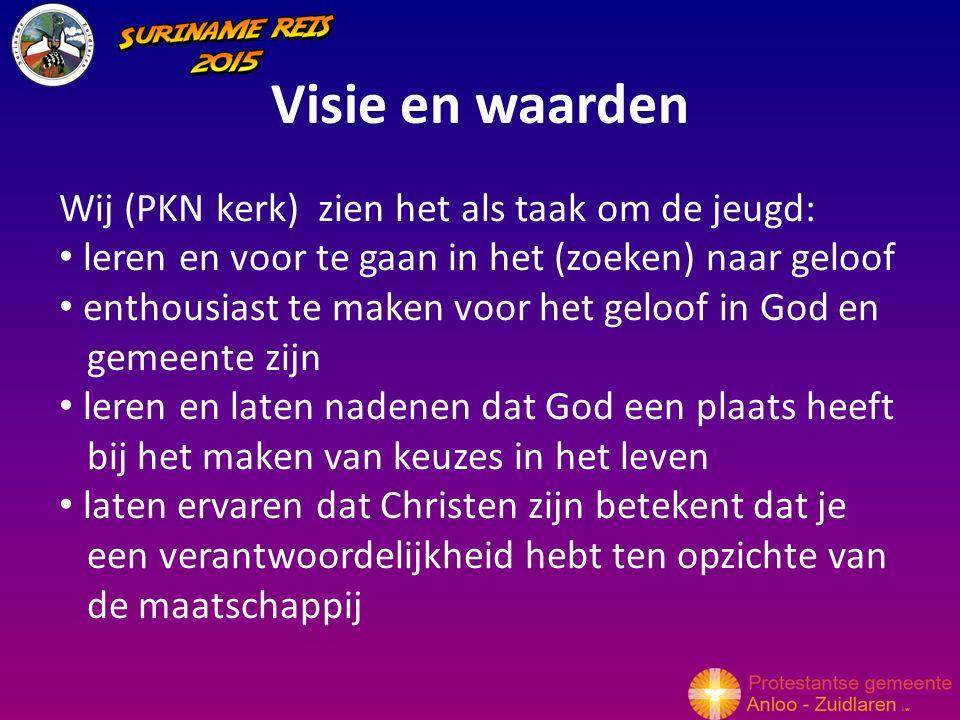 Visie en waarden Wij (PKN kerk) zien het als taak om de jeugd: leren en voor te gaan in het (zoeken) naar geloof enthousiast te maken voor het geloof