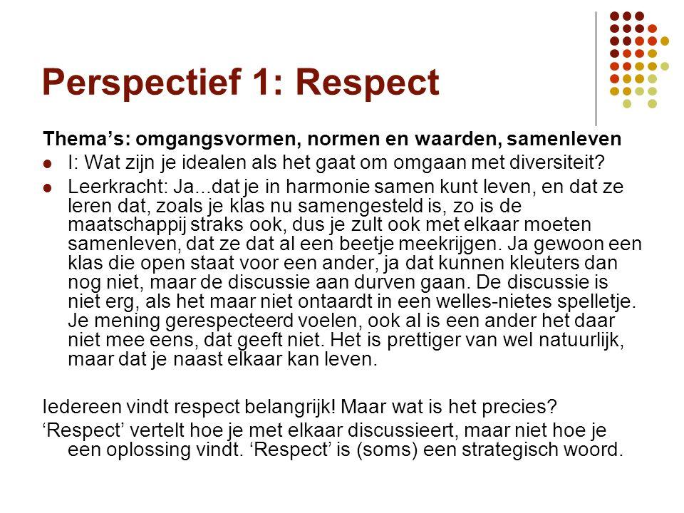 Perspectief 1: Respect Thema's: omgangsvormen, normen en waarden, samenleven I: Wat zijn je idealen als het gaat om omgaan met diversiteit.