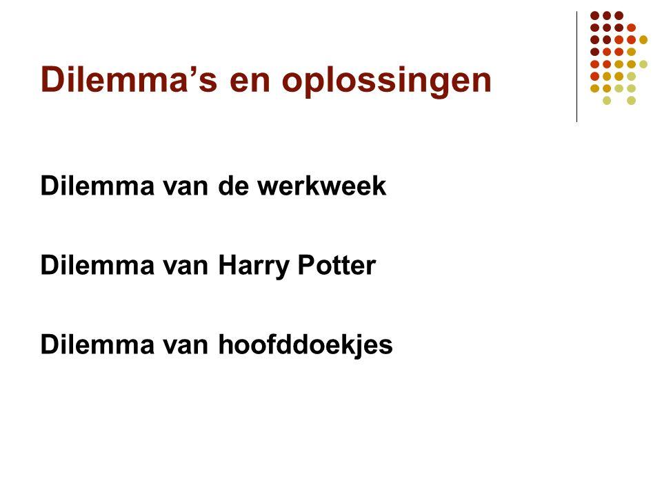 Dilemma's en oplossingen Dilemma van de werkweek Dilemma van Harry Potter Dilemma van hoofddoekjes