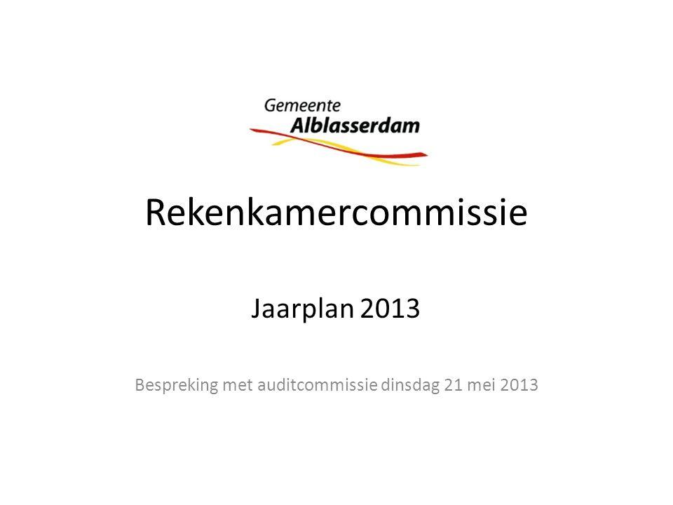 Rekenkamercommissie Jaarplan 2013 Bespreking met auditcommissie dinsdag 21 mei 2013