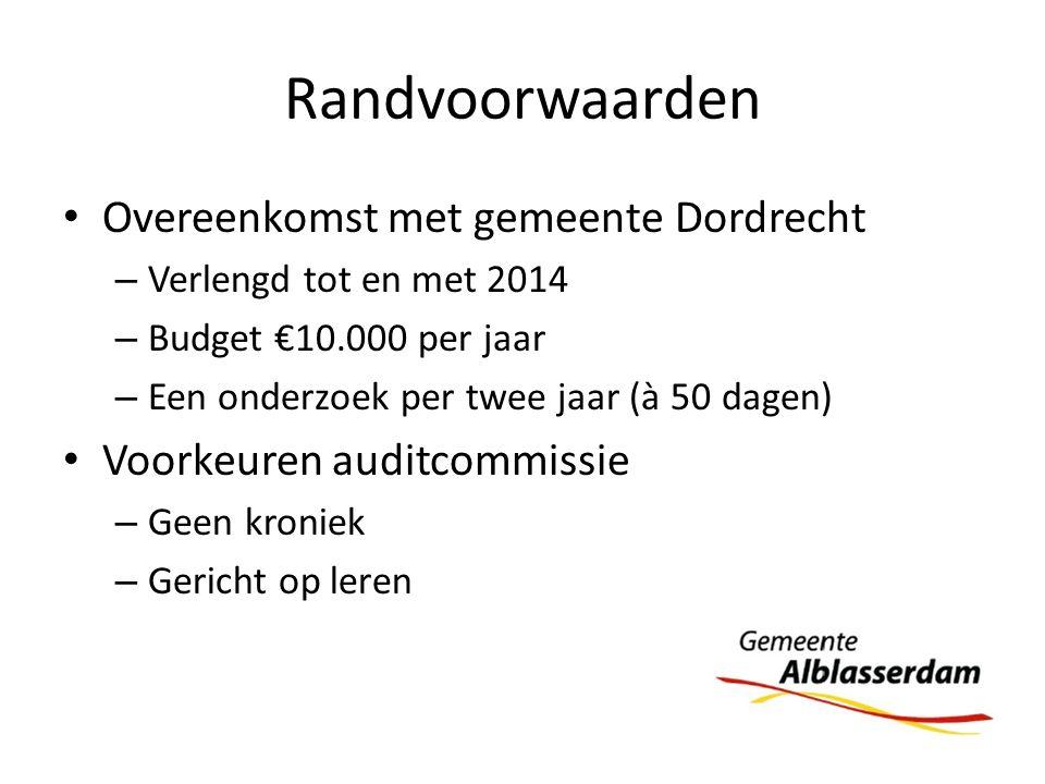 Randvoorwaarden Overeenkomst met gemeente Dordrecht – Verlengd tot en met 2014 – Budget €10.000 per jaar – Een onderzoek per twee jaar (à 50 dagen) Vo