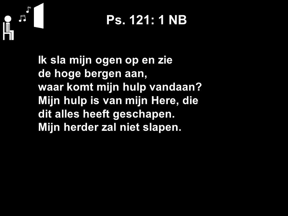 Ps. 121: 1 NB Ik sla mijn ogen op en zie de hoge bergen aan, waar komt mijn hulp vandaan.