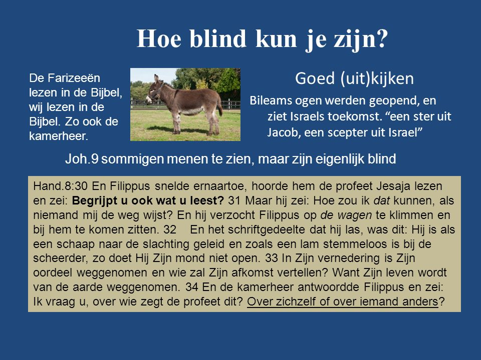 Hoe blind kun je zijn.Goed (uit)kijken Bileams ogen werden geopend, en ziet Israels toekomst.