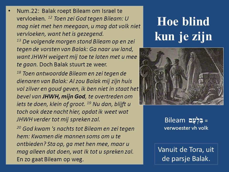 Hoe blind kun je zijn Num.22: Balak roept Bileam om Israel te vervloeken.