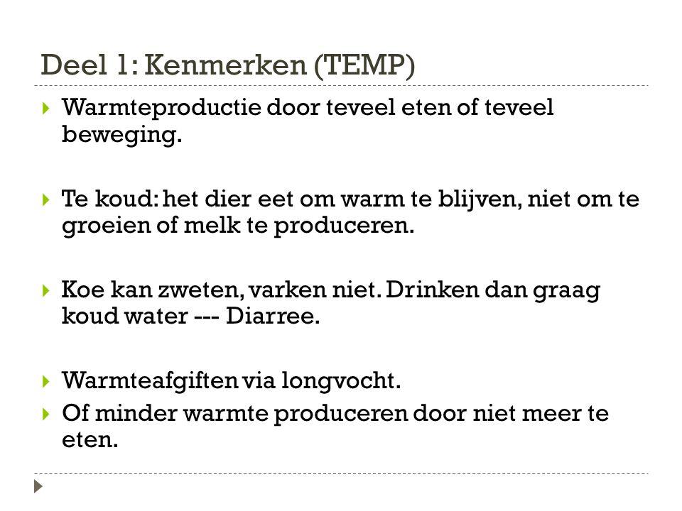 Deel 1: Kenmerken (TEMP)  Warmteproductie door teveel eten of teveel beweging.