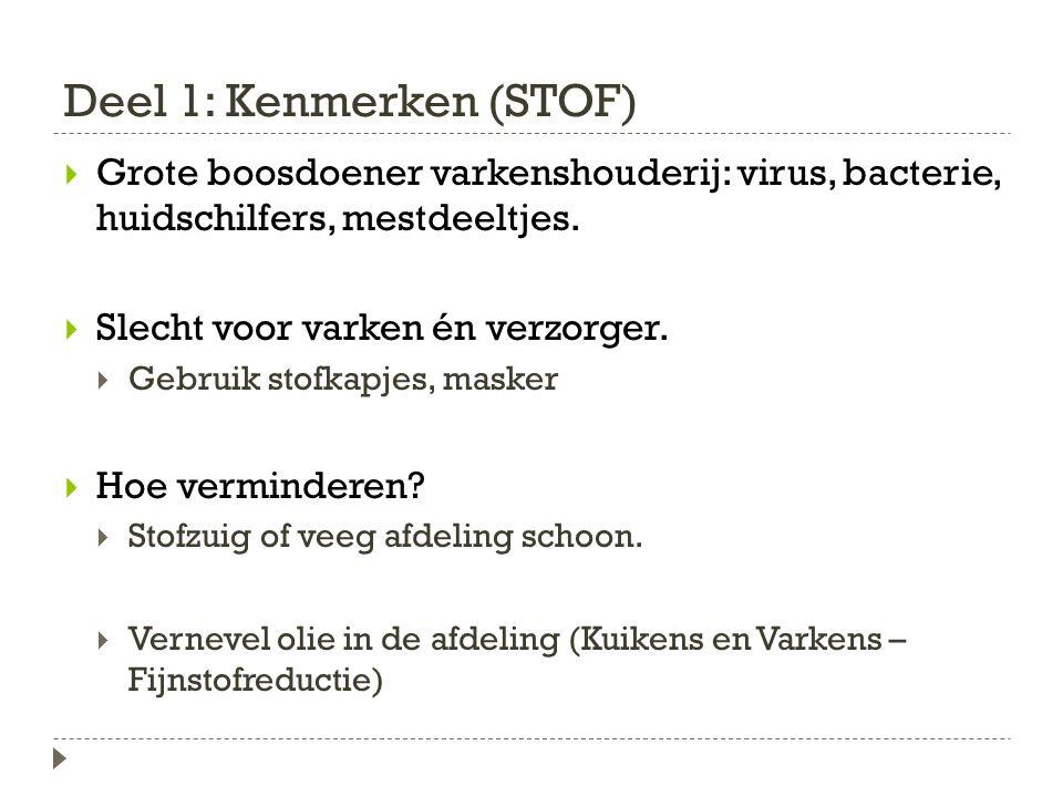 Deel 1: Kenmerken (STOF)  Grote boosdoener varkenshouderij: virus, bacterie, huidschilfers, mestdeeltjes.