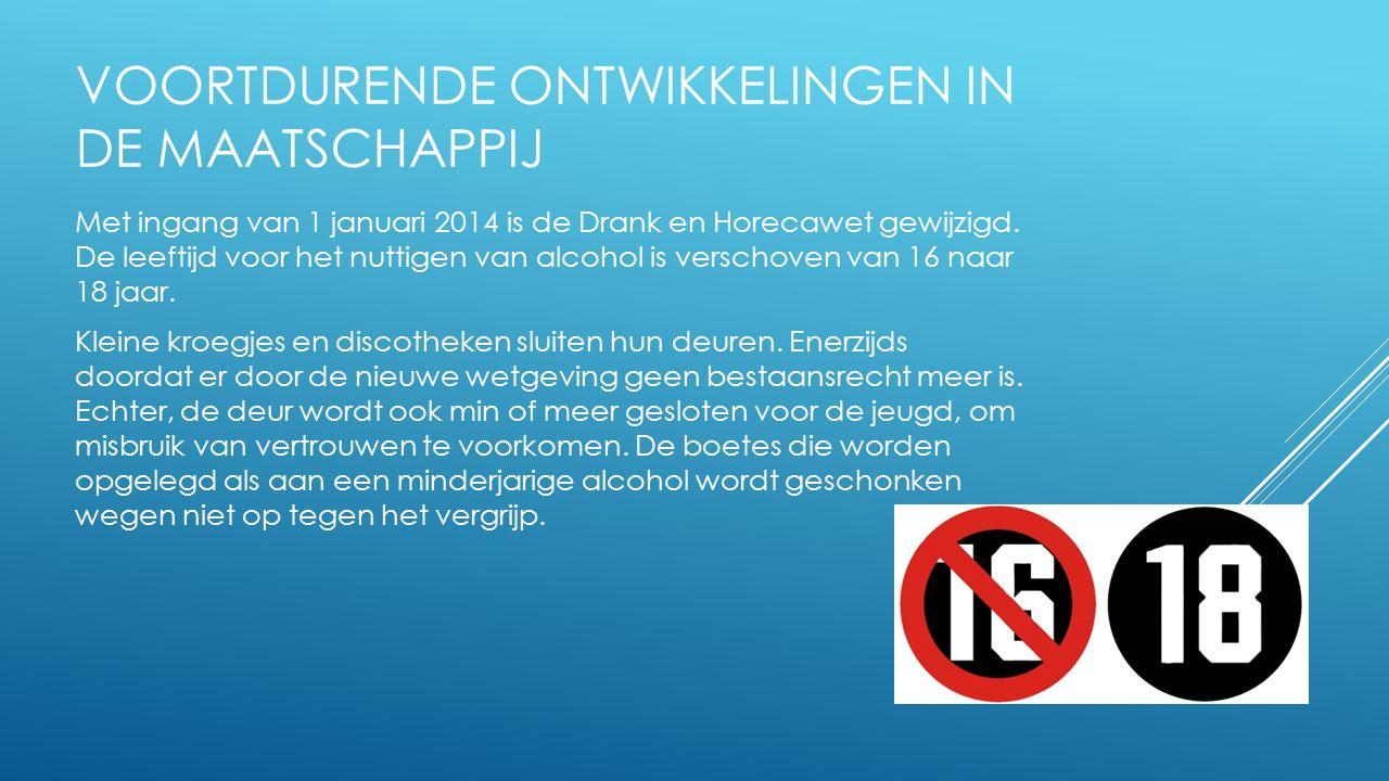 VOORTDURENDE ONTWIKKELINGEN IN DE MAATSCHAPPIJ Met ingang van 1 januari 2014 is de Drank en Horecawet gewijzigd. De leeftijd voor het nuttigen van alc
