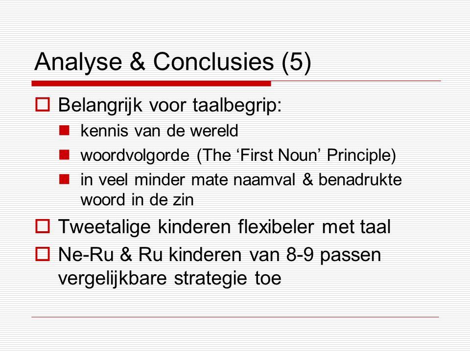 Analyse & Conclusies (5)  Belangrijk voor taalbegrip: kennis van de wereld woordvolgorde (The 'First Noun' Principle) in veel minder mate naamval & benadrukte woord in de zin  Tweetalige kinderen flexibeler met taal  Ne-Ru & Ru kinderen van 8-9 passen vergelijkbare strategie toe