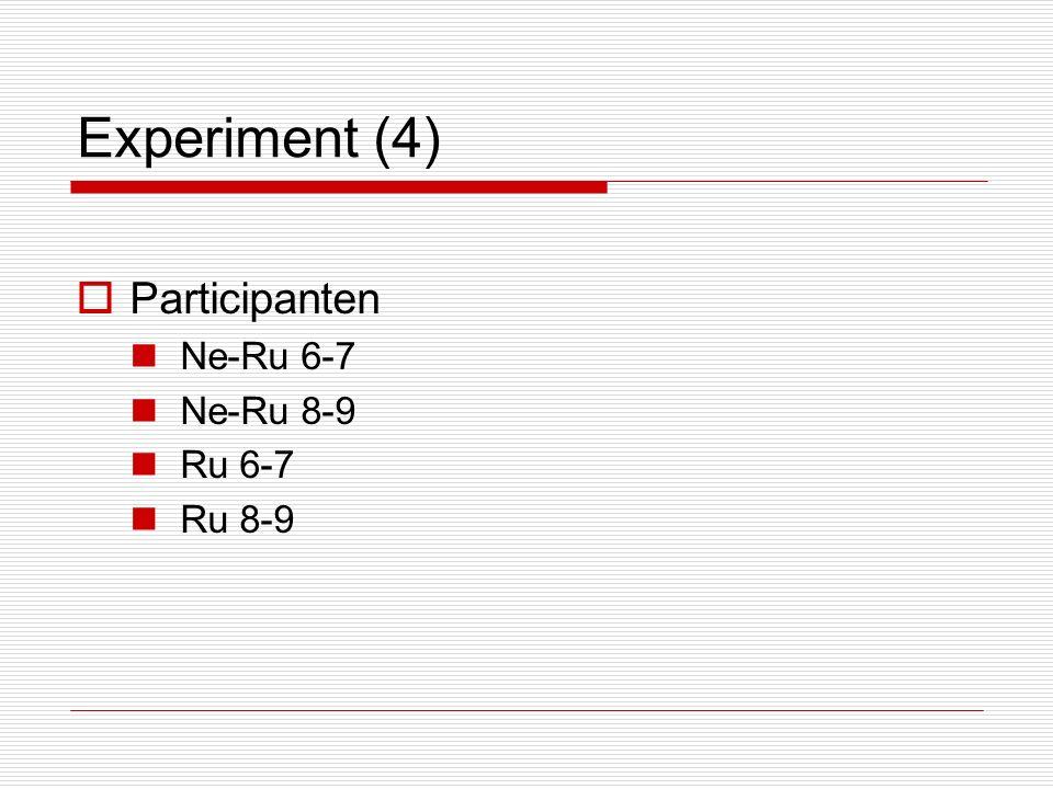 Experiment (4)  Participanten Ne-Ru 6-7 Ne-Ru 8-9 Ru 6-7 Ru 8-9