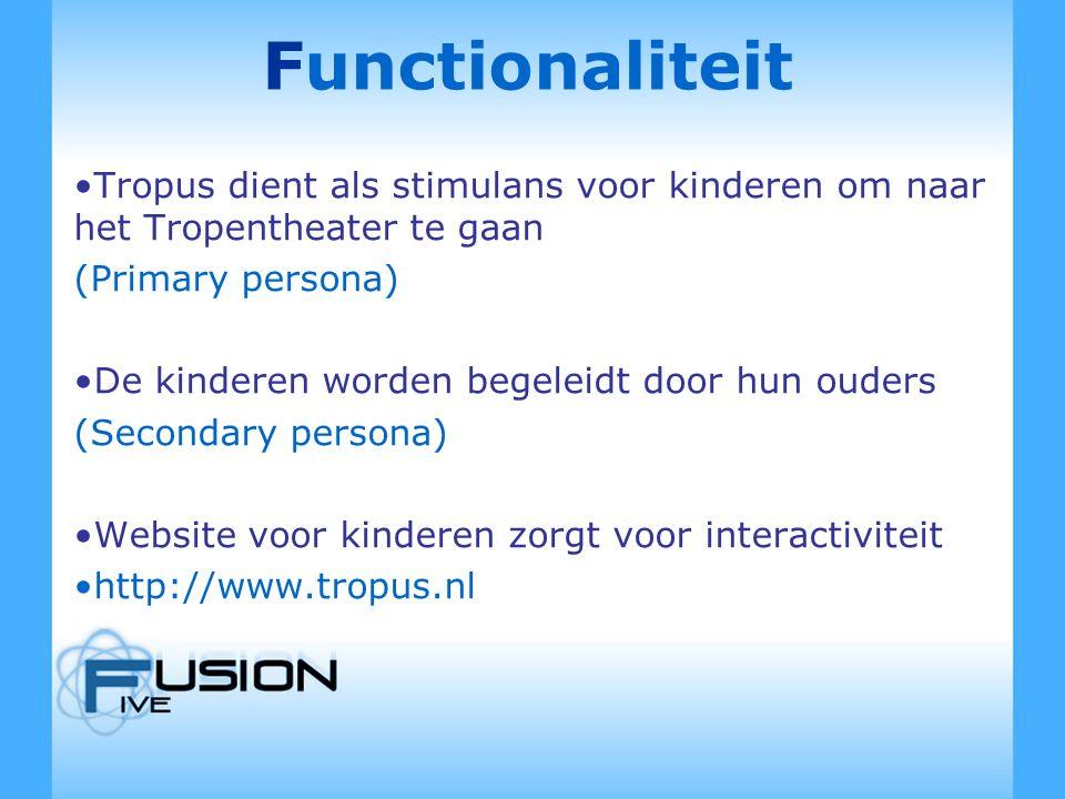 Functionaliteit Tropus dient als stimulans voor kinderen om naar het Tropentheater te gaan (Primary persona) De kinderen worden begeleidt door hun ouders (Secondary persona) Website voor kinderen zorgt voor interactiviteit http://www.tropus.nl