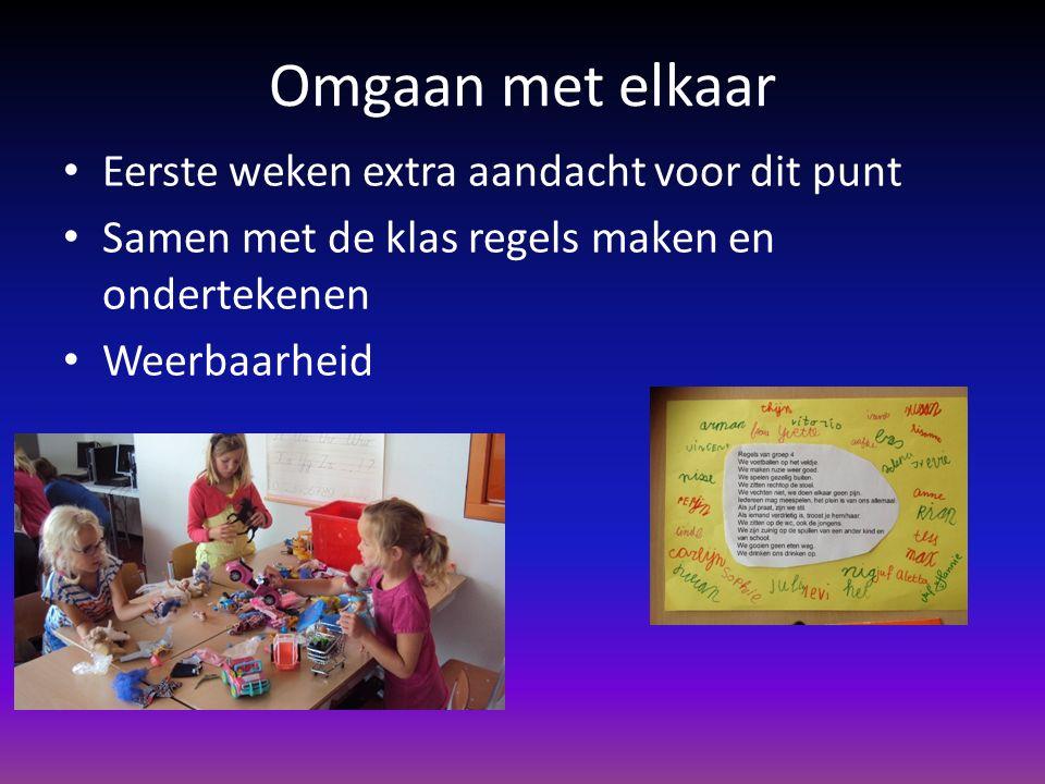 Omgaan met elkaar Eerste weken extra aandacht voor dit punt Samen met de klas regels maken en ondertekenen Weerbaarheid