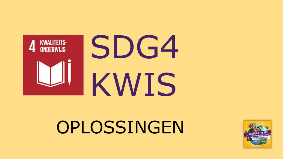 SDG4 KWIS OPLOSSINGEN