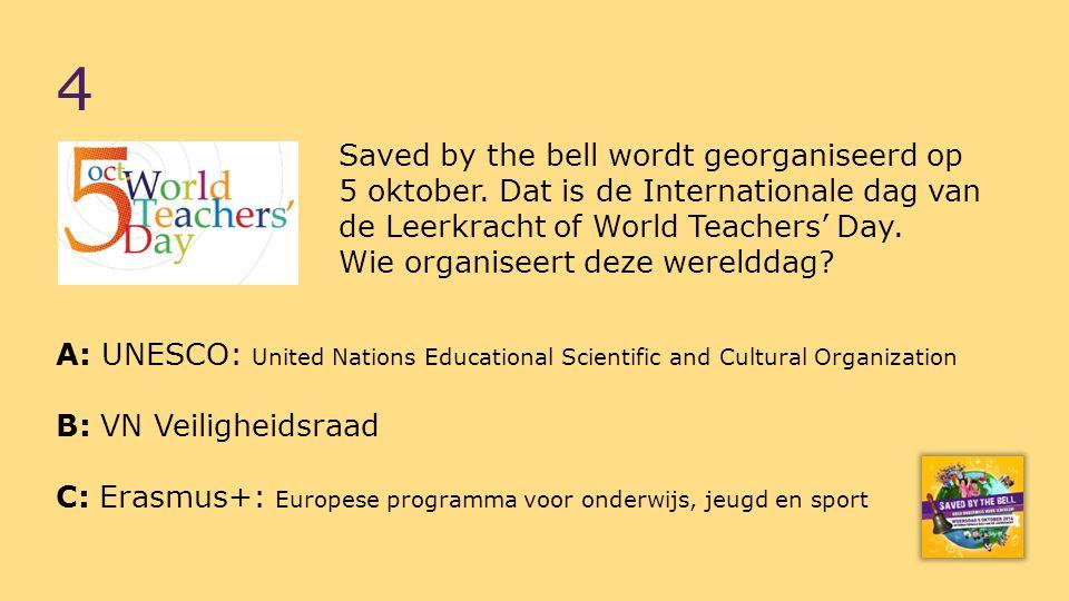Saved by the bell wordt georganiseerd op 5 oktober.