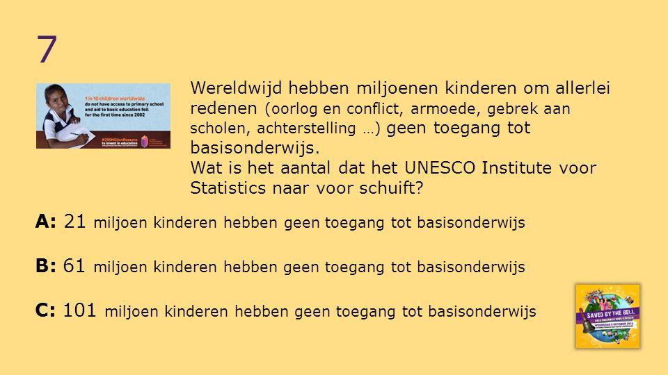 Hoeveel kinderen kunnen wereldwijd naar schatting niet lezen, niet schrijven en niet rekenen.