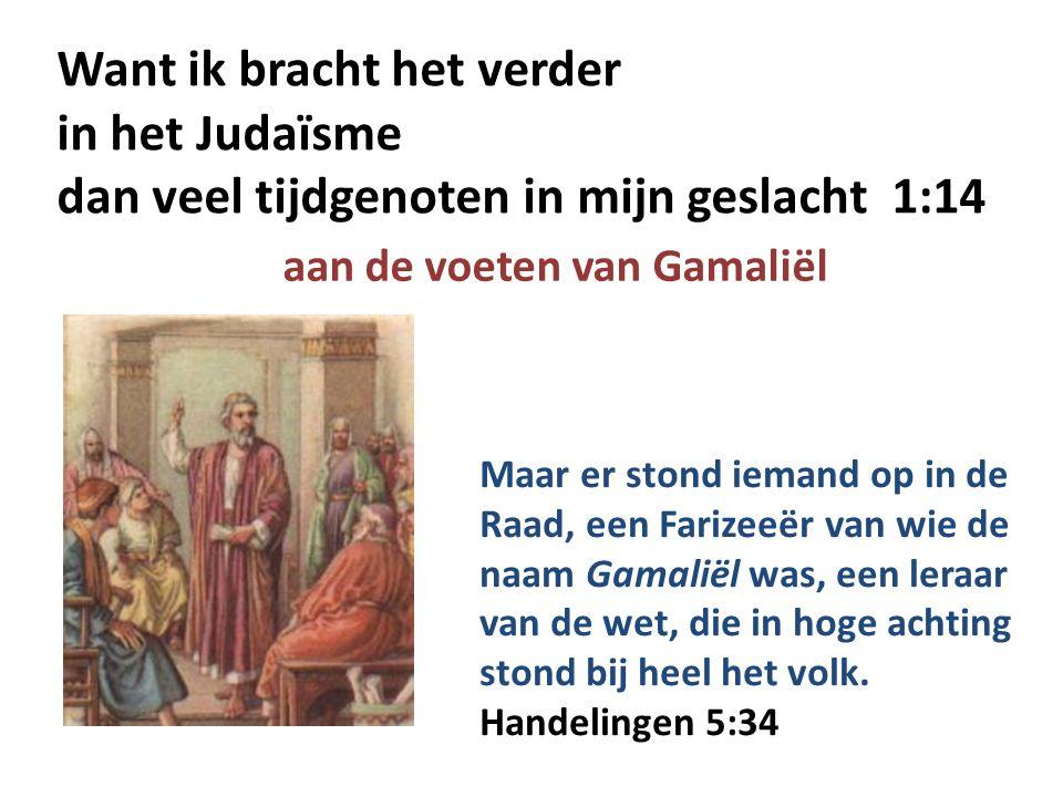 Want ik bracht het verder in het Judaïsme dan veel tijdgenoten in mijn geslacht 1:14 aan de voeten van Gamaliël Maar er stond iemand op in de Raad, ee