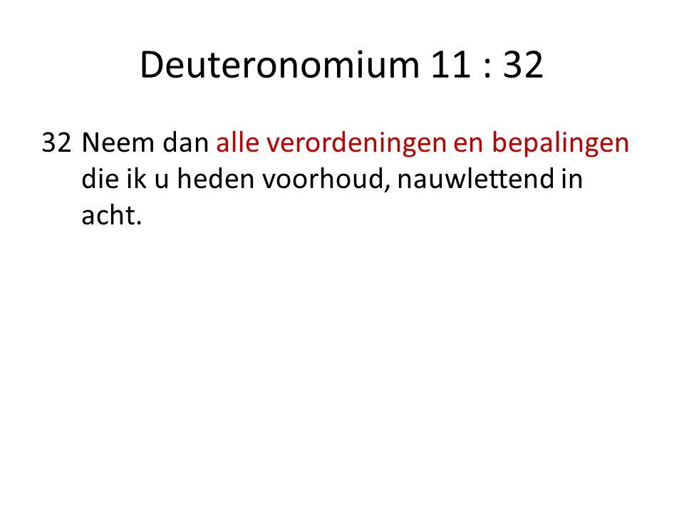 Deuteronomium 12 : 1 1.Dit zijn de verordeningen en de bepalingen die u nauwlettend in acht moet nemen, in het land dat de HEERE, de God van uw vaderen, u gegeven heeft om het in bezit te hebben, al de dagen dat u op de aardbodem leeft.