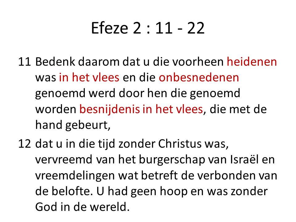 Efeze 2 : 11 - 22 13Maar nu, in Christus Jezus, bent u, die voorheen veraf was, door het bloed van Christus dichtbij gekomen.