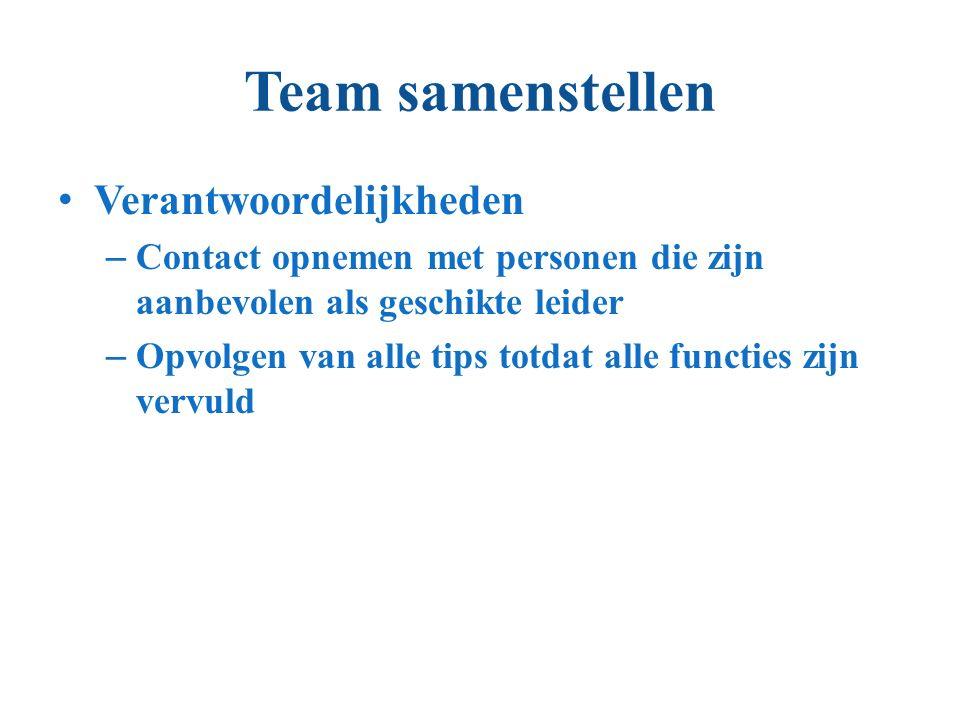 Team samenstellen Verantwoordelijkheden – Contact opnemen met personen die zijn aanbevolen als geschikte leider – Opvolgen van alle tips totdat alle functies zijn vervuld
